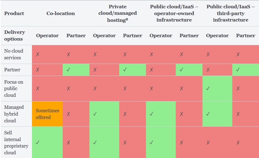 Figure 1: Most common operator options for cloud services (not exhaustive)